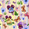 Beautiful vivid viola flowers leaves and bright butterflies on pastel striped background. Seamless barred floral pattern.