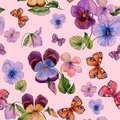 Beautiful vivid viola flowers leaves and bright butterflies on pink background. Seamless spring or summer floral pattern.