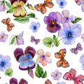 Beautiful vivid viola flowers leaves and bright butterflies on white background. Seamless spring or summer floral pattern.