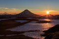 Beautiful volcanic landscape: sunrise over Volcano Royalty Free Stock Photo