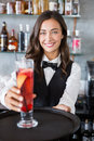 Beautiful waitress holding tray with cocktail glass Royalty Free Stock Photo