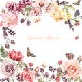 Beautiful watercolor card with Peony, roses, iris flower. Currants, gooseberries and raspberries.