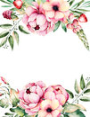 Beautiful watercolor card with place for text with flower,peonies,leaves,branches,lupin,air plant,strawberry