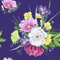 Beautiful watercolor floral peony seamless pattern