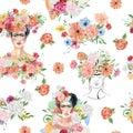Beautiful watercolor flower seamless pattern with flower head, women figure, floral bouquet. Beautiful Royalty Free Stock Photo