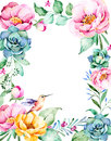 Beautiful watercolor frame border with place for text