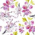 Beautiful watercolor seamless pattern with sakura flowers and lines Stock Photo