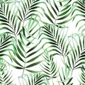 Beautiful watercolor seamless pattern with tropical leaves.