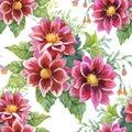 Beautiful Watercolor Summer Garden Blooming Flowers Seamless Pattern.