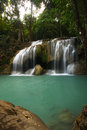 Beautiful Waterfall in Erawan Kanchanaburi, Thailand Stock Photo