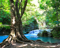 Beautiful waterfall at erawan national park in kanchanaburi thailand Royalty Free Stock Photography