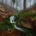 Beautiful waterfall panoramic view of a autumn Stock Image