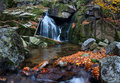 Beautiful waterfall panoramic view of a autumn Royalty Free Stock Photography