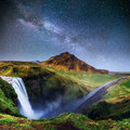 Beautiful waterfall. The starry sky and the Milky Way. Iceland. Royalty Free Stock Photo