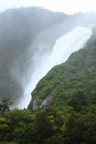 Beautiful waterfalls rainstorm fiordland national park new zealand Royalty Free Stock Images