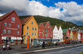 Beautiful waterfront views of bergen norway august with wooden houses on august Stock Image