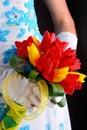 Beautiful wedding bouquet in bride s hands Stock Photo