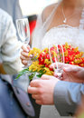 Beautiful wedding bouquet and champagne Royalty Free Stock Photo