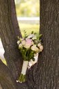 Beautiful wedding colorful nosegay on the tree of pink and peach roses Royalty Free Stock Image