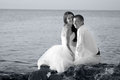 Beautiful wedding couple bride and groom hugging at the beach just married black and white sepia Stock Images
