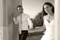 Beautiful wedding couple bride and groom just married black and white sepia Stock Image
