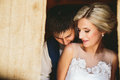 Beautiful wedding couple in doorway Royalty Free Stock Photo