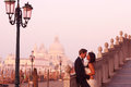 Beautiful wedding couple in Venice on their honeymoon Royalty Free Stock Photo