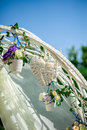 Beautiful wedding decor heart and flowers on the arch Royalty Free Stock Photo