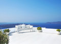 Beautiful wedding decoration on Santorini island Royalty Free Stock Photo