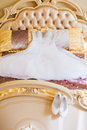Beautiful wedding dress in room Royalty Free Stock Photography
