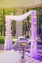 Beautiful wedding gazebo in summer park luxury with flower arrangements Stock Images