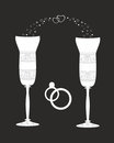 Beautiful wedding glasses with decorative pattern illustration vector illustration Royalty Free Stock Photos
