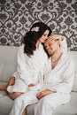 Beautiful wedding husband wife lovers man woman and men women in white coats Stock Images