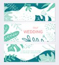 Beautiful wedding invitation card - set of modern abstract horizontal banners