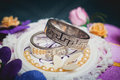 Beautiful wedding rings with brilliants close up Royalty Free Stock Photo