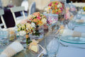 Beautiful wedding table set Royalty Free Stock Photo