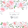 Beautiful wedding vector design frame with flowers Royalty Free Stock Photo