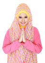 Beautiful welcoming girl wearing hijab smiling isolated on white background Royalty Free Stock Images