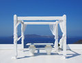 Beautiful wedding tent on Santorini island Royalty Free Stock Photo