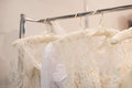 Beautiful white cream wedding dresses made of silk chiffon Royalty Free Stock Photo