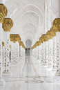 Beautiful white muslim churc interior, passageway Stock Photos