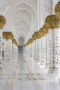 Beautiful white muslim church interior, passageway Royalty Free Stock Photo