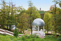 Beautiful white wedding gazebo in park lush garden korosten ukraine Royalty Free Stock Photography