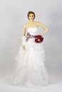 Beautiful white wedding gown n mannequins Royalty Free Stock Images