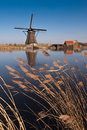 Beautiful windmill landscape at kinderdijk Stock Photography