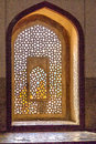 Beautiful windows with ornaments in islamic style inside humayun Royalty Free Stock Photo