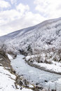 Beautiful Winter mountain landscape with river from Bulgaria Royalty Free Stock Photo