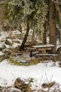 Beautiful winter picnic table benches snow kazakhstan almaty Stock Photography