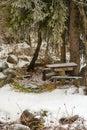 Beautiful winter picnic table benches snow kazakhstan almaty Stock Photography