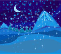 Beautiful wintry landscape with night sky mountains and light moon Stock Photos